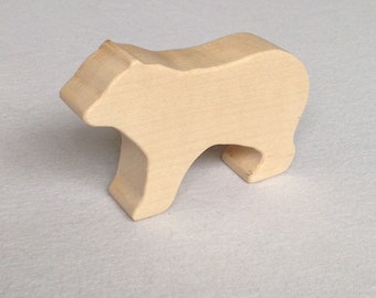 Wooden Toy Bear Cub - animal toy - solid wood - nursery decor - baby shower -Waldorf - Montessori - natural toys