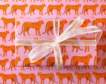 Leopard Print Wrapping Paper, Cheetah Gift Wrap, Birthday Gift Wrap, Present Wrapping,  Illustrated Gift Wrap