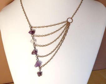 Layering necklace, Necklace ancient copper with amethyst, vintage style