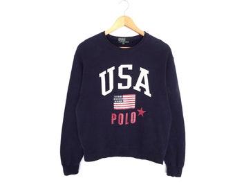 07ea1175c7e23 Polo Ralph Lauren USA Flag Logo Spellout Pullover Jumper Sweatshirt Vintage  90s Polo RL