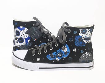 Day of the Dead High Tops (Blue)