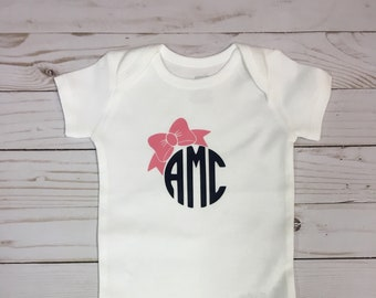Personalized Monogram with Bow Bodysuit, Monogram bodysuit, baby girl monogram, custom baby bodysuit