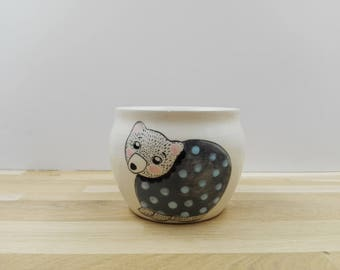 Ceramic Jar with a little bear, handmade and wheel thrown pottery / / cactus or succulent Pot of white faience with blue bear.