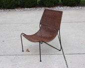 Mid Century Modern Wicker Iron Frederick Weinberg Chair