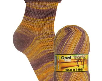 """Opal socks wool """"Sunrise"""" color 9445 courage of the morning sun, 4fädig"""