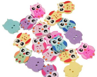 Attractive 10 buttons 2 holes wooden blue OWL