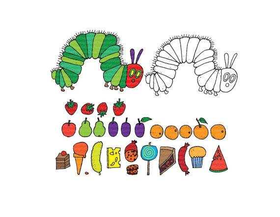 f77f9491fb2 Very Hungry Caterpillar with food and outline .DXF .SVG .PNG .eps file  digital download for cricut silhouette cameo die cut