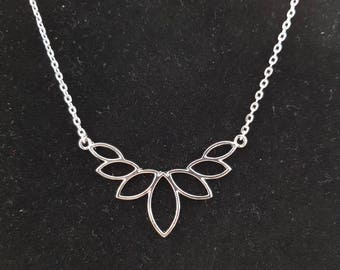 Silver brass lotus flower necklace