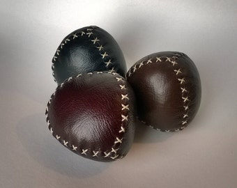 Handmade Pyramid style juggling balls - Set of three - Red, Brown, Blue