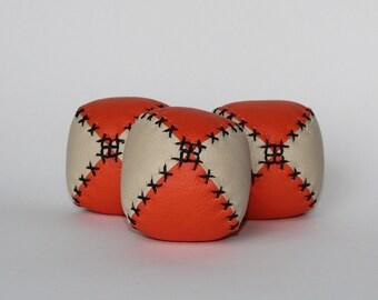 Set of 3 handmade leather juggling balls - Orange and Beige