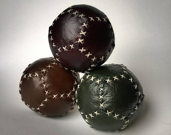 Set of three 12 sided leather Juggling Balls