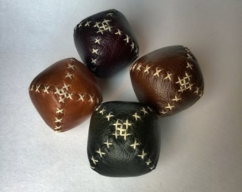 Mini / Travel Juggling Balls - Set of Four - Red, Tan, Brown and Green