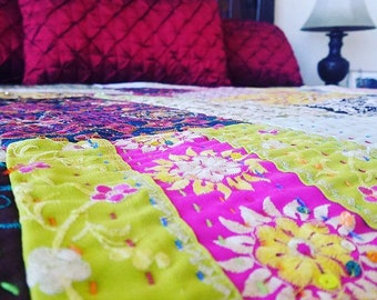 Sequence Metallic Patchwork Quilt and Throw Blanket