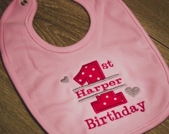 Baby Ruffle Bib First Birthday Bib Monogrammed Birthday Bib Flamingo Birthday Ruffle Bib