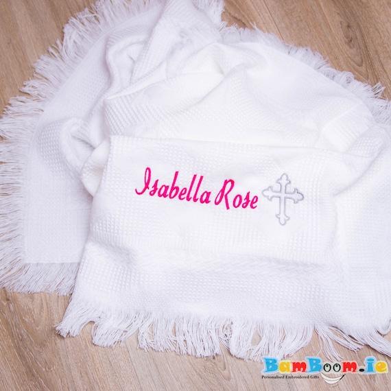 Personalised christening girls bib embroided blanket  any name baby gift shawl