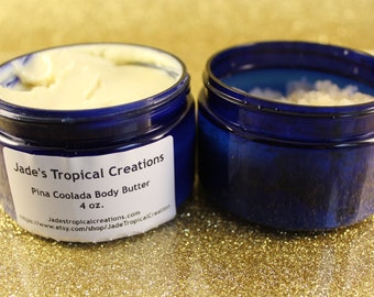 Tropical Body Butter and Scrub Gift Set, Pina Colada, Body Polish, Body Scrub, Body Butter, Bundle Set, Sugar Scrub, 2 Pack, Skincare