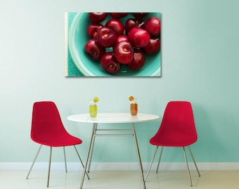 Dining Room Food Art, Cherry Home Decor, Cherries Wall Art, Cherry Wall Art, Cherry Art Print, Still Life Kitchen Art, Summer Fruit Art