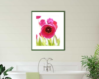 Hot Pink and Green Tulip Art Print, Vertical Floral Wall Art