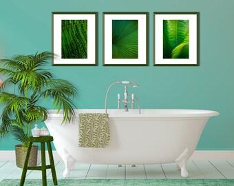 Set 3 Botanical Print, Palm Leaf Print, Plant Leaf Art Print, Leaf Art Set, Green Print Set, Beach Cottage Art Set, Green Coastal Decor