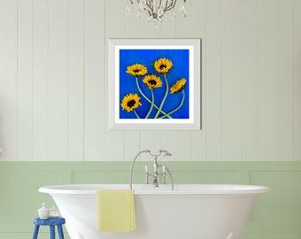 Indigo Blue Wall Art, Farmhouse Bathroom Art, Indigo Blue Decor, Bathroom Picture, Sunflower Decor Kitchen, Sunflower Wedding Decor, Country