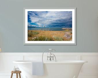 Large seascape art, large coastal art, lakehouse wall decor, Lake House decor, blue beige art, beach bathroom print, Great Lakes, Milwaukee