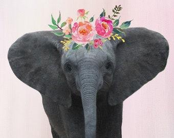Boho Girl Nursery Decor, Elephant Painting, Cute Elephant Print, Boho Elephant Art, Elephant Nursery Print, Elephant With Flowers Art