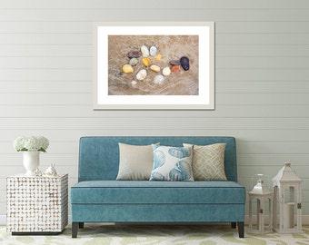 Modern Coastal Art, Yoga Wall Art, Taupe Wall Art, Minimalist Beach Art, Zen Wall Print, Zen Bathroom Art, Yoga Studio Art, Beach Stone Art