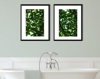 Botanical Print Set, Leaf Art Set, Forest Print Set, Plant Leaf Art Print, Living Room Art Set, Modern Nature Decor, Green Print Set, Nature