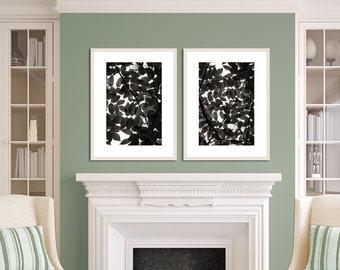 Black and white botanical print set, leaf art print, modern nature prints, leaf photography, set of 2 black and white print, boho farmhouse
