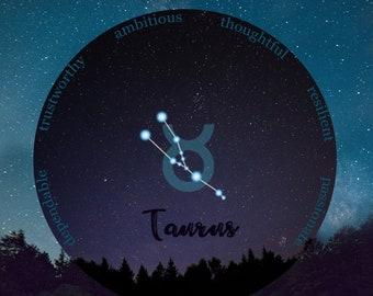 Taurus, Astrology Taurus, May Birthday, April Birthday Gift For Her, Taurus Decor, Taurus Zodiac, Taurus Art Print, Taurus Constellation Art