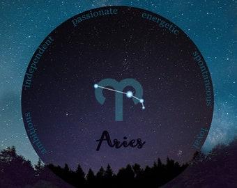 Aries Zodiac, April Birthday Gift for Her, March Birthday, Night Sky Print, Constellation Art, Aries Zodiac Print, Aries Star Sign, Dorm Art
