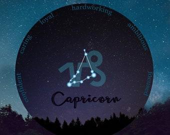 Capricorn, January birthday, December birthday, Capricorn Zodiac, Teenage Girl Gift, Teen Girl Room Decor, Cubicle Decor, Star Sign Wall Art