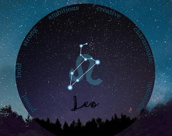 Zodiac Gift Leo, August Birthday, Leo Birthday Gift, Leo Art Print, Teen Girl Room Art, Leo Zodiac Art, Leo Constellation, July Birthday