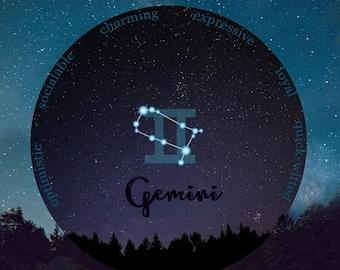 Gemini, Zodiac Gift Gemini, 16th birthday, May Birthday, June Birthday, Granddaughter Gift, Night Sky Print, Constellation Map, Gift for Her
