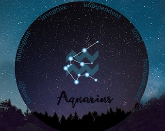 January birthday, Aquarius, Astrology Gift, Zodiac Aquarius Gift, February Birthday, Aquarius Zodiac Art, Starry Sky Art, Astrology Print