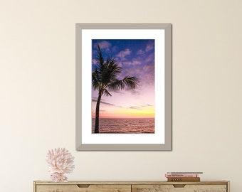 Palm Tree Print, Palm Leaves, Palm Leaf Print, Palm Beach Print, Palm Tree Art, Purple Bathroom Art, Palm Tree Photography, Ocean Sunset