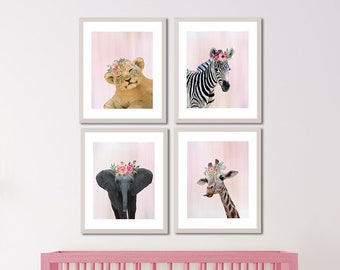 Girl Safari Nursery, Animal Wall Art Set, Boho Flower Nursery Art, Baby Animals Set 4, Boho Nursery Decor Girl, Pink Animal Set, Kids Safari