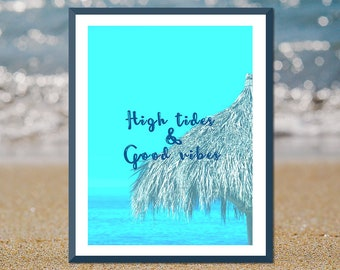 Surfer Girl, Good Vibes Only, Beach Bathroom Wall Art, Turquoise Beach Art, Surfer Girl Gift, Surfer Gift Ideas, Coastal Bathroom Art, Aqua