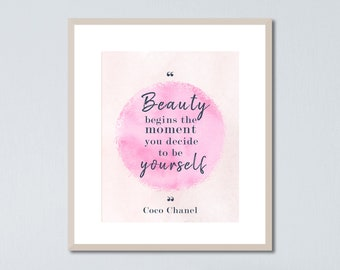 Coco Chanel, Minimalist Quote Poster, Coco Chanel Quotes, Light Pink Decor, Coco Chanel Print, Light Pink Wall Art, Inspiring Quotes