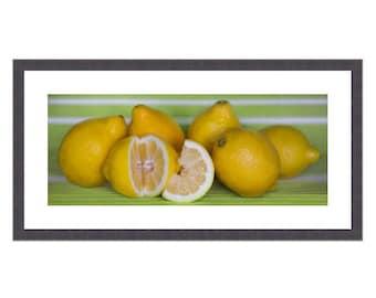 Dine Room Food Art, Lemon Home Decor, Lemon Kitchen Decor, Still Life Kitchen Art, Colorful Still Life, Food Photography, Lemon Kitchen Art