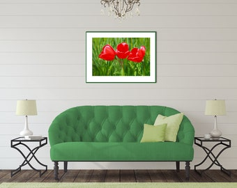 Red Tulip Floral Flower Wall Art Print, Cheerful Wall Art