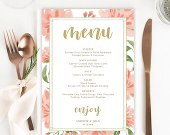 wedding menu template etsy