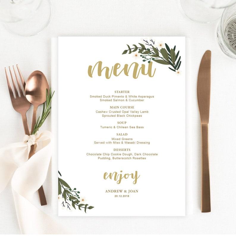 THE MINIMALIST Digital File Editable Template Minimalistic Black And White Wedding Menu Printable DIY Wedding Menu Instant Download