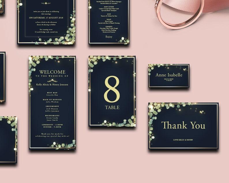 Elegant Navy Blue Wedding Invitation Suite
