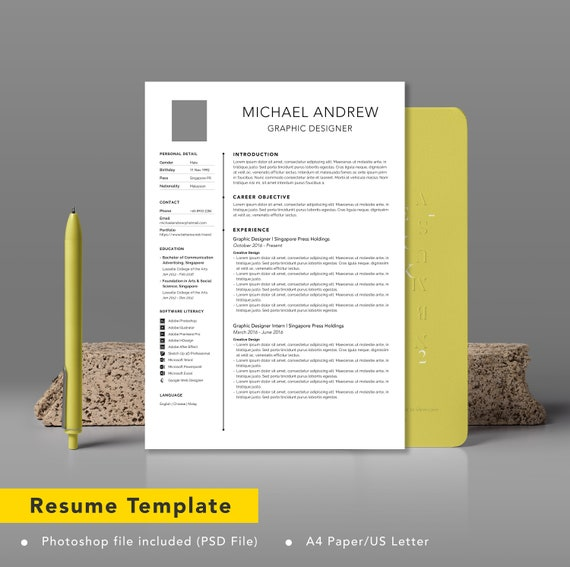 Modern Professional Resume Template Cv Template Professionally Designed Resume Letter