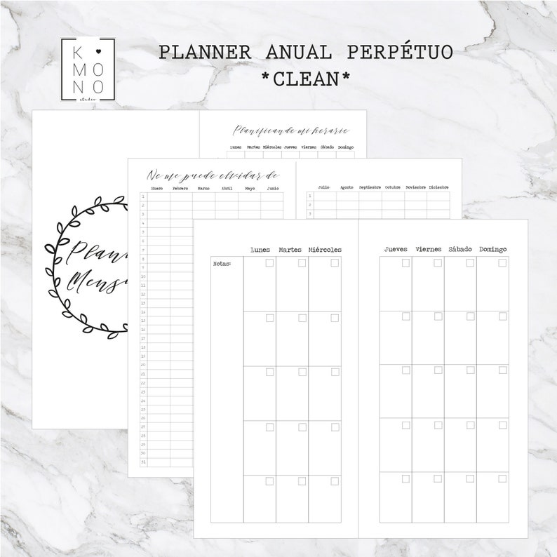 CLEAN ESTÁNDAR  PACK Agenda mensual semanal y libretas para image 0