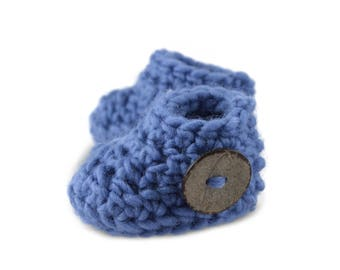 Dusky blue ugg-style button booties