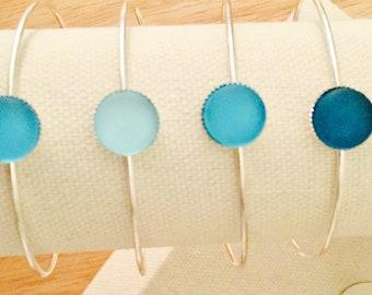 Boho Silver Sea Glass Bangles, Sea Glass Jewelry, Beach Inspired Jewelry