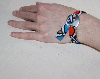 Fabric Ribbon Bracelet African wax adjustable - knot