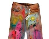 Women 39 s Vintage inspired denim Women 39 s Bootcut Jeans Hand painted jeans Women 39 s Denim Pants Women 39 s Stonewashed jeans Vintage Inspired Jeans